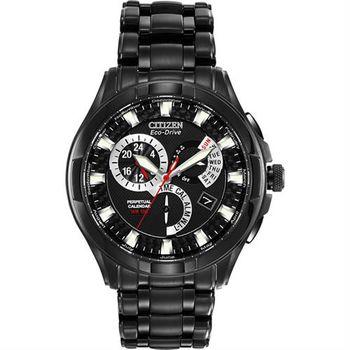 CITIZEN 光動能兩地時間萬年曆腕錶-黑/42mm BL8097-52E