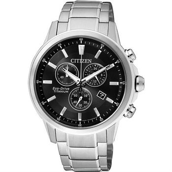 CITIZEN ECO-Drive 鈦金屬計時腕錶-黑/42mm AT2340-81E