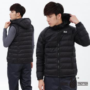 【遊遍天下】背心外套二穿式男款JIS90%羽絨防風防潑水羽絨外套G0327(黑色)