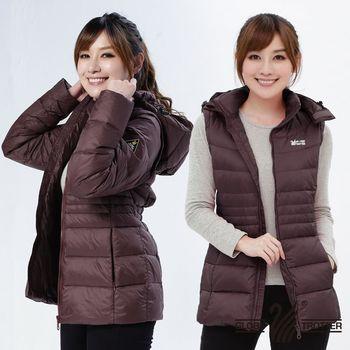【遊遍天下】背心外套二穿式女款JIS90%羽絨防風防潑水羽絨外套G0326(磚紅)