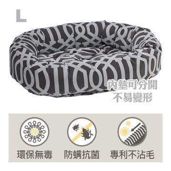Bowsers甜甜圈極適寵物床-灰白圈-L