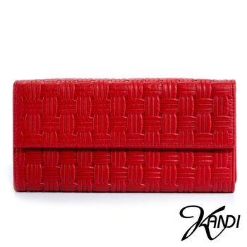 【KANDI】摩登時尚編織紋牛長夾(共5色)