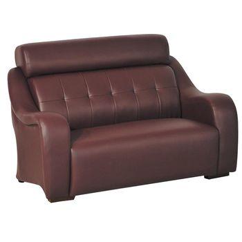 【品味居】马纷 时尚咖啡红色皮革二人座沙发