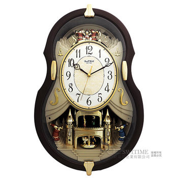 【RHYTHM日本麗聲】 歐式古典小提琴造型整點報時音樂掛鐘