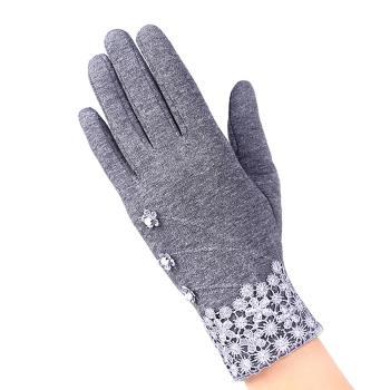 幸福揚邑  手套保暖防風加絨觸控(典雅蕾絲款-灰色)