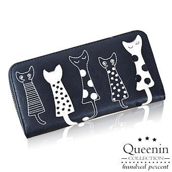 DF Queenin皮夾 - 貓星人攻佔世界刺繡款單拉鍊長夾