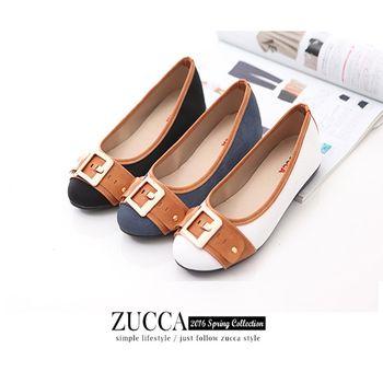 ZUCCA【Z6024】金屬穿扣環圓頭平底鞋-藍色/黑色/白色