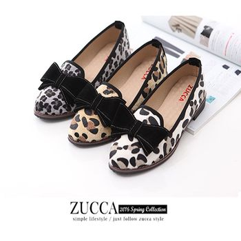 ZUCCA【Z6017】日系豹紋朵結平底鞋-灰色/白色/駝色
