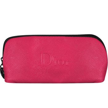 Dior 迪奧 桃色荔枝紋立體LOGO長型包