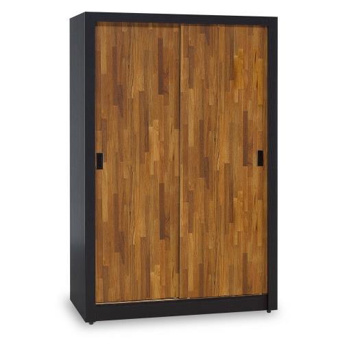 【時尚屋】[5U7]黑色配柚木集成材耐磨4x7尺木心板拉門衣櫃5U7-173-4744