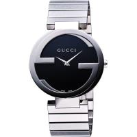 GUCCI Interlocking 時尚元素腕錶-黑/37mm YA133307