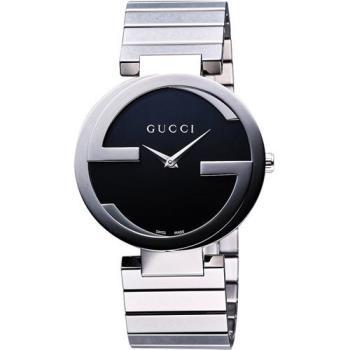 GUCCI Interlocking 時尚元素腕錶-黑/37mm YA133307