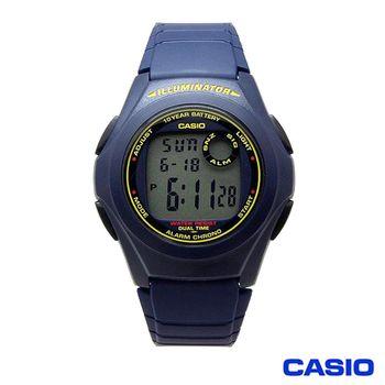 【CASIO 卡西歐】數位電子能量運動腕錶 F-200W-2B