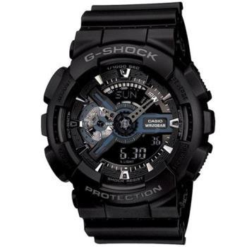 G-SHOCK 機械神秘感黝黑反轉液晶Man運動錶 GA-110-1B