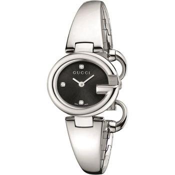 GUCCI 古馳 Guccissima 時尚真鑽手鐲女錶-黑x銀/27mm YA134505