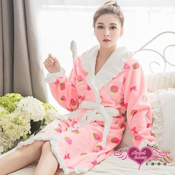 天使霓裳 保暖睡袍 甜蜜草莓 柔軟法蘭絨一件式綁帶連身睡衣(粉F) ZB6042