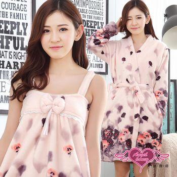 天使霓裳 保暖睡袍 暈染彩花 柔軟法蘭絨二件式綁帶連身睡衣(粉紫F) UA334