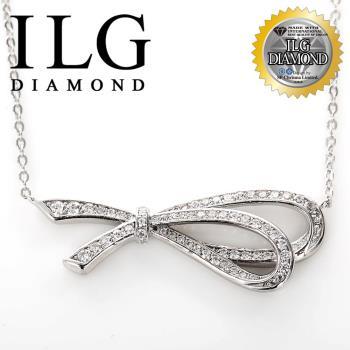 【ILG鑽】頂級八心八箭擬真鑽石項鍊-Love Ribbon款-NC095情人節送禮生日禮物最佳首選(白K金色)