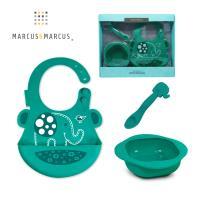MARCUS MARCUS 動物樂園餵食禮盒組(圍兜+湯匙+餐碗)-大象