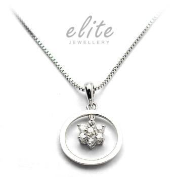【Elite 伊麗珠寶】925純銀項鍊 八心八箭美鑽系列 - 甜甜圈花鑽