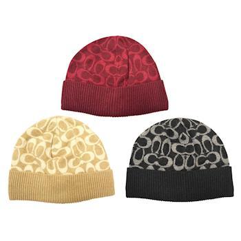 【COACH】2016秋冬新款羊毛毛線帽 米白/ 紅/黑