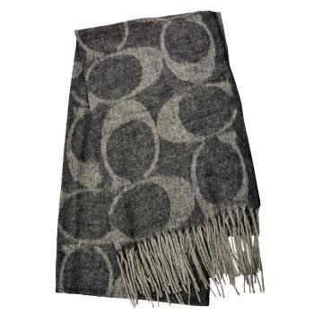 【COACH】COACH羊毛經典Logo C流蘇圍巾(優雅藍/經典黑/魅力紅/氣質米)