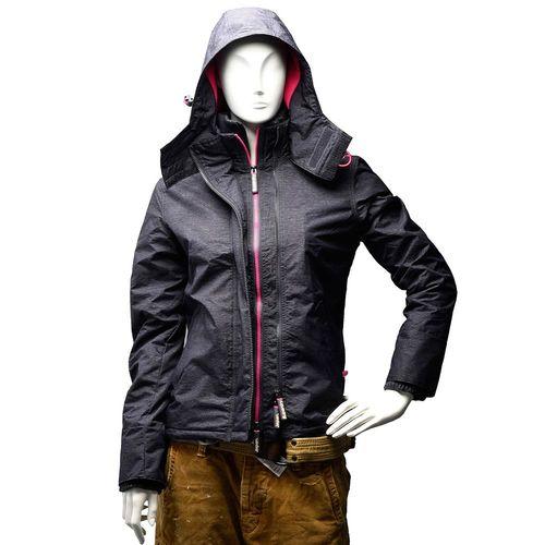 Superdry 極度乾燥Arctic Windcheater內刷毛連帽防風拉鍊外套(女-炭灰X粉紅-S)