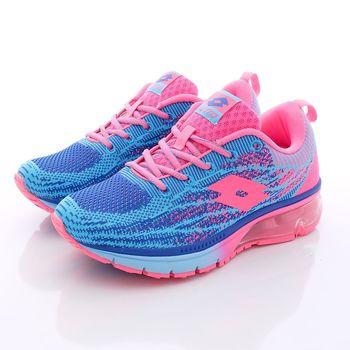 Lotto樂得-編織氣墊跑鞋-WR3286藍(女段)-(23cm~25cm)