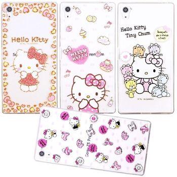 【Hello Kitty】Sony Xperia Z5 E6653 5.2吋 立體彩繪透明保護軟套