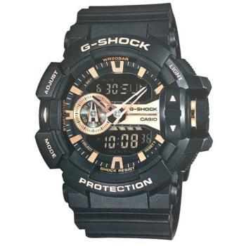 G-SHOCK 金屬風多層次街頭搖滾雙顯運動錶 GA-400GB-1A4