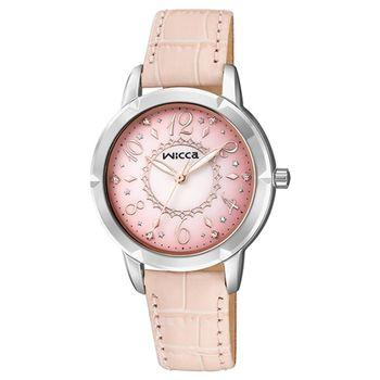 【CITIZEN星辰】wicca 夢幻公主童話時尚女皮帶腕錶-粉色(BT2-718-90)