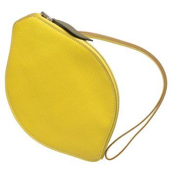 HERMES Tutti Frutti系列萊姆造型山羊皮掛腕手拿包(黃色)