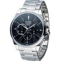 ALBA 雅柏 街頭酷流行三眼計時腕錶 VD53-X255D 銀 AT3A67X1