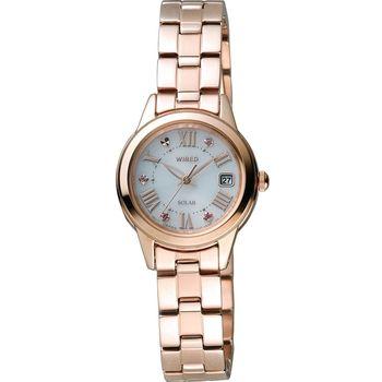 (AGED709J) WIRED F Solar 東京女孩簡約時尚腕錶 V137-0CF0K 玫瑰金色