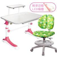 吉加吉 兒童成長 書桌椅組 TW-3689 KBL 搭配 雙背椅 附護眼檯燈