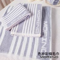 【MORINO】色紗彩條毛巾(4條組)