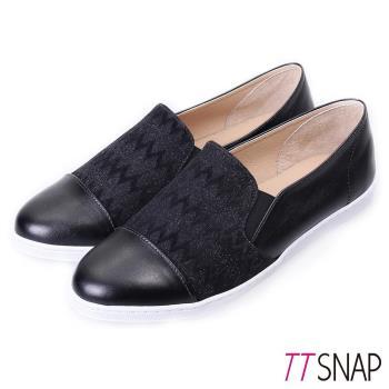 TTSNAP-MIT幾何金蔥棉布懶人樂福鞋( 黑/銀)