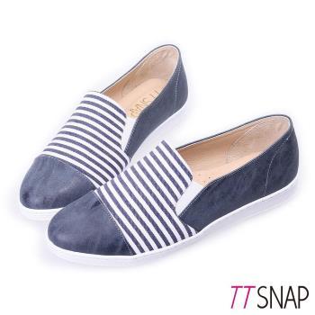 TTSNAP懶人鞋MIT海軍風條紋休閒樂福鞋 藍/灰/米