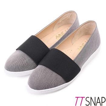 TTSNAP-MIT帆布拼接織帶懶人休閒鞋( 黑/藍)