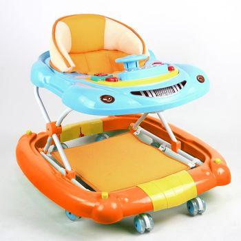 YipBaby 汽車造型多功能搖擺學步車-活力橘