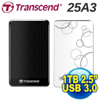 Transcend創見 StoreJet 1TB 2.5吋行動硬碟 USB3.0 TS1TSJ25A3