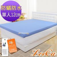 LooCa 抗菌防蹣防水12cm釋壓記憶床墊-單人
