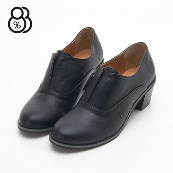 【88%】MIT台灣製 簡約素色皮革氣質學院 免綁帶 粗中跟5.5cm 牛津鞋 紳士鞋