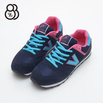 【88%】韓版V字母 仿麂皮面網布拼接 繽紛撞色 休閒鞋 慢跑鞋 學生鞋