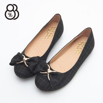【88%】MIT台灣製 氣質簡約方格布面 愛心蝴蝶結 娃娃鞋 豆豆底 圓頭包鞋
