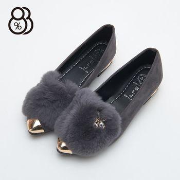【88%】時尚金屬尖頭包鞋 花花綴飾 毛毛鞋 低跟2cm 娃娃鞋 瓢鞋