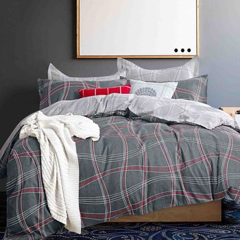 【FOCA-伊瀾】加大-八件式100%精梳純棉舖棉二用被床罩組