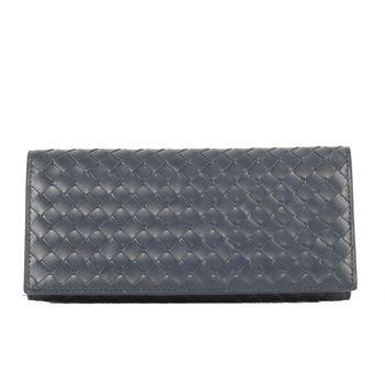 BOTTEGA VENETA 經典編織對折長夾(深藍)