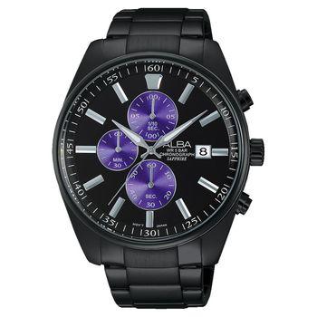 ALBA 潮流東京計時腕錶-黑x紫/43mm VD57-X059SD(AM3247X1)
