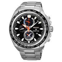 SEIKO 精工 Prospex 海世界時間時尚腕錶-黑/44.6mm V195-0AB0D(SSC487P1)